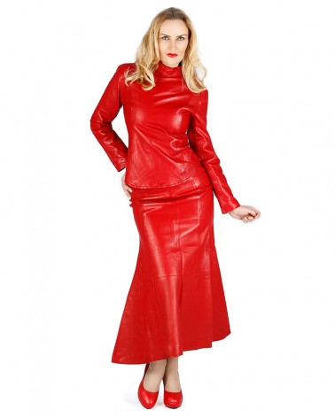 Leather Flaredskirt Red