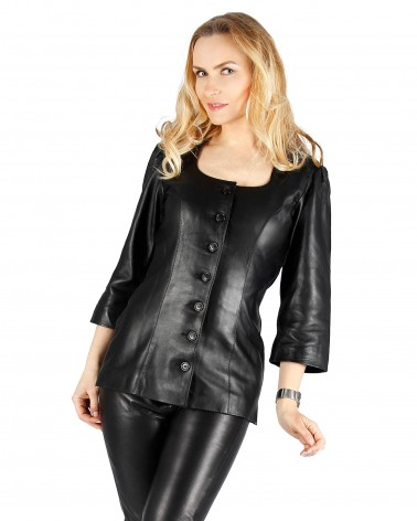 Leather Bluuse Delux Black