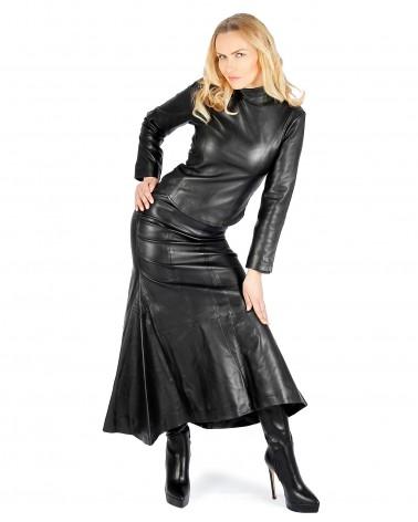 Leather Flaredskirt Black