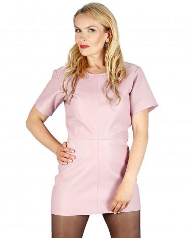 Leder Long-Shirt in Pink